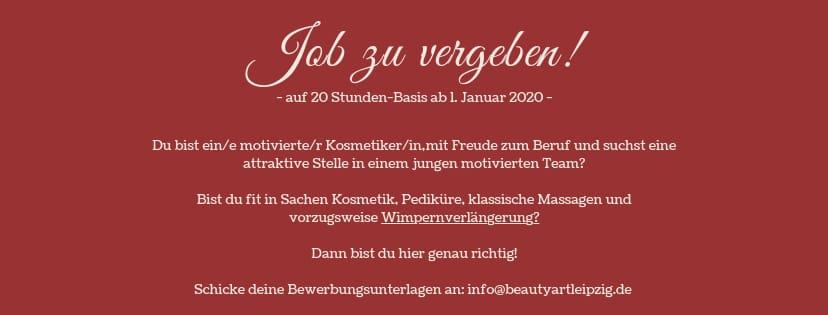 Job zu vergeben! BeautyArt Leipzig Kosmetikerin